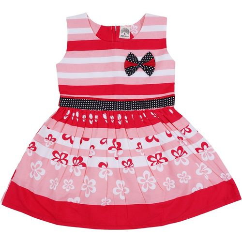 Icable Girls Midi/Knee Length Casual Dress(Red, Sleeveless)