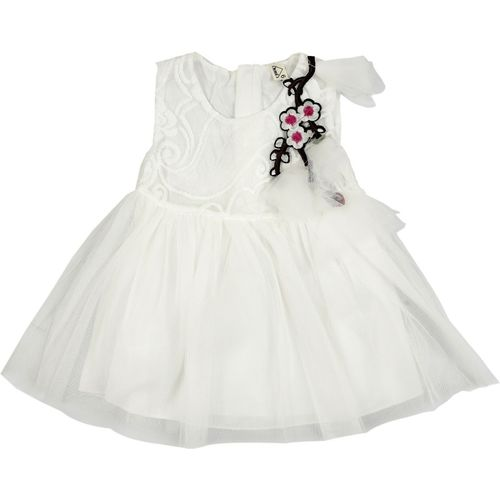 Icable Girls Mini/Short Party Dress(White, Sleeveless)