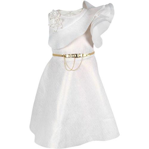 Arshia Fashions Girls Midi/Knee Length Party Dress(White, Sleeveless)