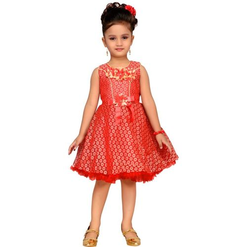 Aarika Girls Midi/Knee Length Party Dress(Red, Sleeveless)