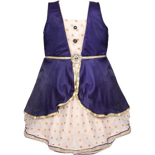 Wishkaro Girls Midi/Knee Length Party Dress(Blue, Sleeveless)