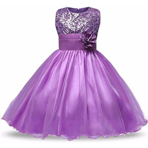 Lucky Angel Girls Midi/Knee Length Party Dress(Purple, Sleeveless)