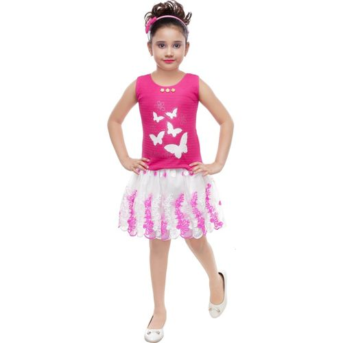 SmartRAHO Girls Midi/Knee Length Casual Dress(Pink, Sleeveless)