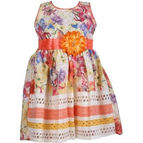 BIDHAN Girls Midi/Knee Length Casual Dress(Orange, Sleeveless)