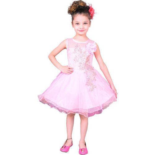 Sky Heights Girls Mini/Short Party Dress(Pink, Sleeveless)