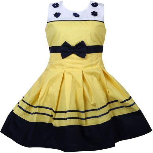 BIDHAN Girls Midi/Knee Length Casual Dress(Yellow, Sleeveless)