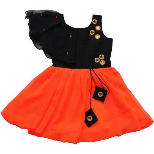 MVD Fashion Indi Girls Midi/Knee Length Festive/Wedding Dress(Orange, Fashion Sleeve)