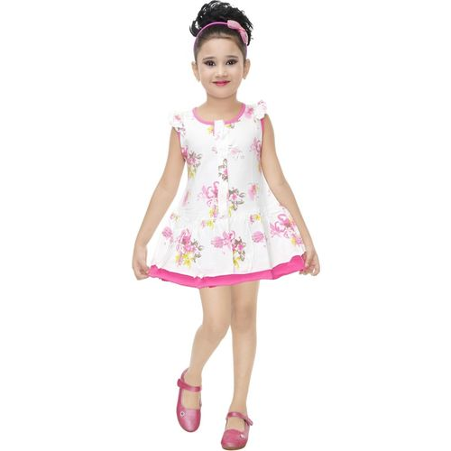 nukids Girls Midi/Knee Length Casual Dress(Multicolor, Sleeveless)