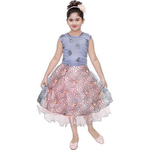 Celebrity club Girls Midi/Knee Length Festive/Wedding Dress(Multicolor, Sleeveless)