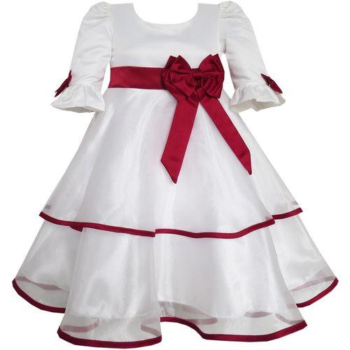 Wish littlle Girls Mini/Short Party Dress(White, Fashion Sleeve)