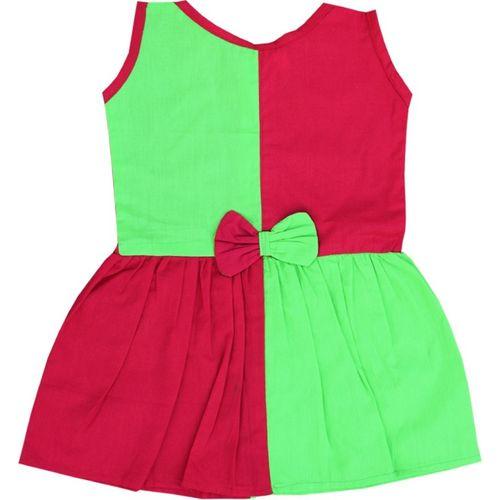 Anush Collections Girls Midi/Knee Length Casual Dress(Green, Sleeveless)