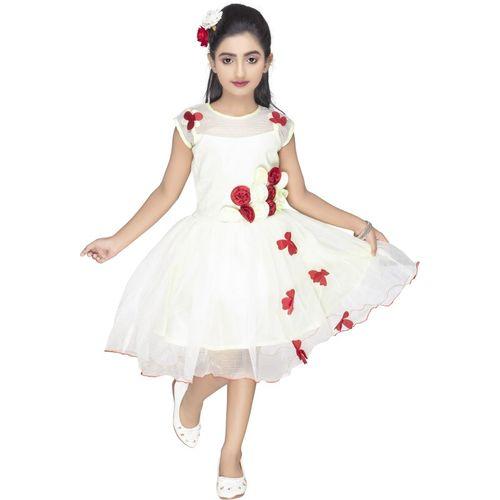 new gen Indi Girls Midi/Knee Length Casual Dress(White, Sleeveless)