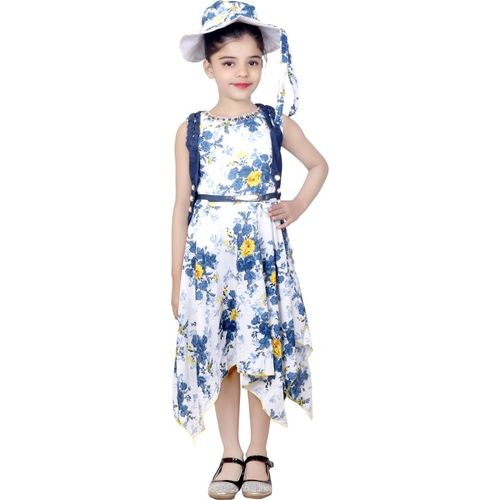 KBKIDSWEAR Girls Midi/Knee Length Casual Dress(White, Sleeveless)