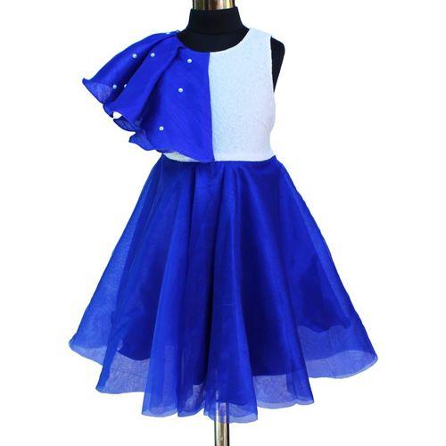 MVD Fashion Indi Girls Midi/Knee Length Festive/Wedding Dress(Blue, Sleeveless)