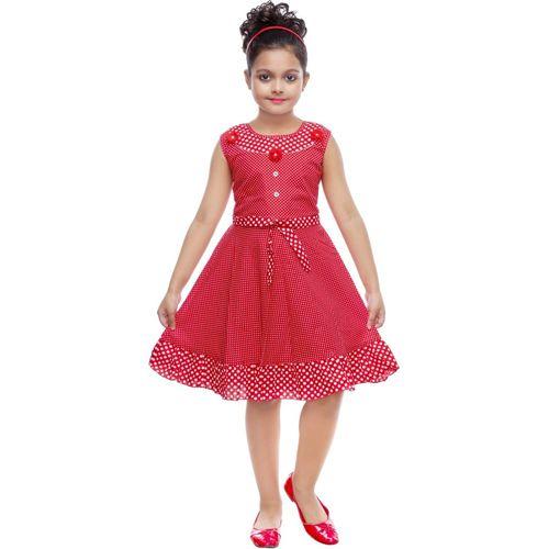 JBRFASHION Girls Midi/Knee Length Casual Dress(Red, Sleeveless)