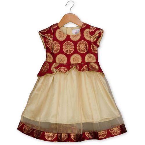 Young Birds Indi Girls Midi/Knee Length Party Dress(Gold, Cap Sleeve)