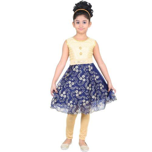 DEBDESHIK Girls Midi/Knee Length Party Dress(Multicolor, Sleeveless)