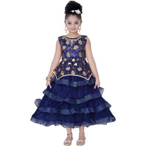 Saarah Girls Midi/Knee Length Party Dress(Blue, Sleeveless)