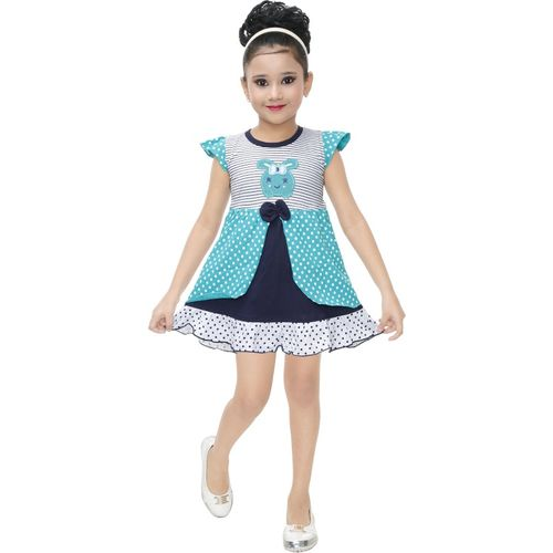 nukids Girls Midi/Knee Length Casual Dress(Multicolor, Cap Sleeve)