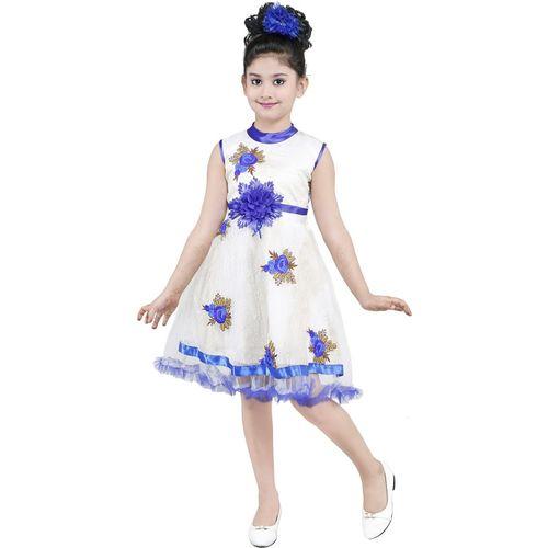 YAYAVAR Girls Midi/Knee Length Party Dress(Blue, Sleeveless)
