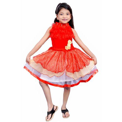 AD & AV Girls Mini/Short Party Dress(Red, Sleeveless)