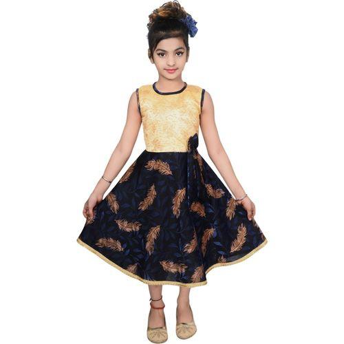 Safina Girls Midi/Knee Length Casual Dress(Blue, Sleeveless)