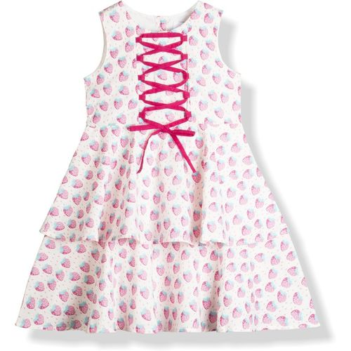 Young Birds Girls Midi/Knee Length Casual Dress(White, Sleeveless)