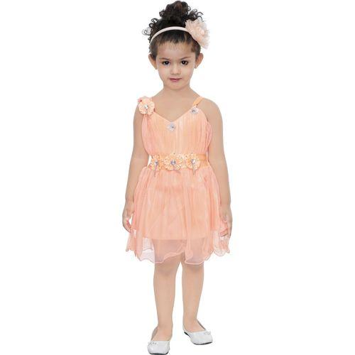 TrendyClub Girls Midi/Knee Length Festive/Wedding Dress(Beige, Sleeveless)