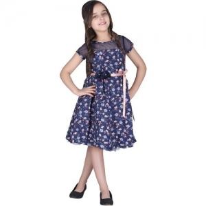 Cutecumber Girls Midi/Knee Length Party Dress(Dark Blue, Cap Sleeve)