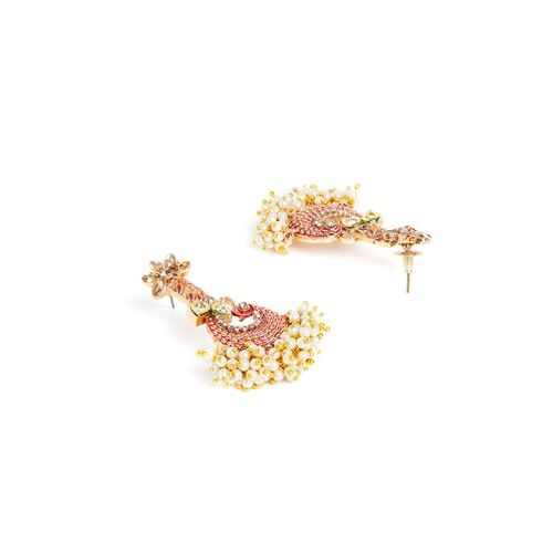 PANASH Gold-Plated Red Peacock Shaped Handpainted Drop Earrings