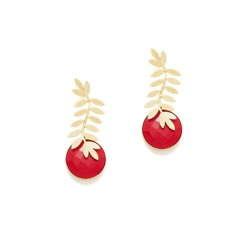 PANASH Gold-Plated & Red Leaf Shaped Handcrafted Studs
