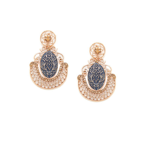 PANASH Gold-Plated & Navy Blue Contemporary Drop Earrings