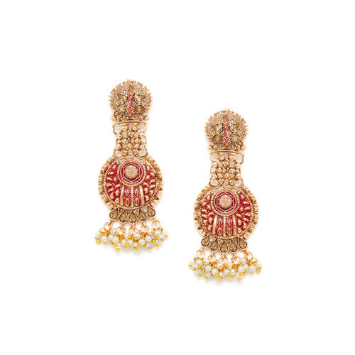 PANASH Gold-Toned & Red Peacock Shaped Drop Earrings
