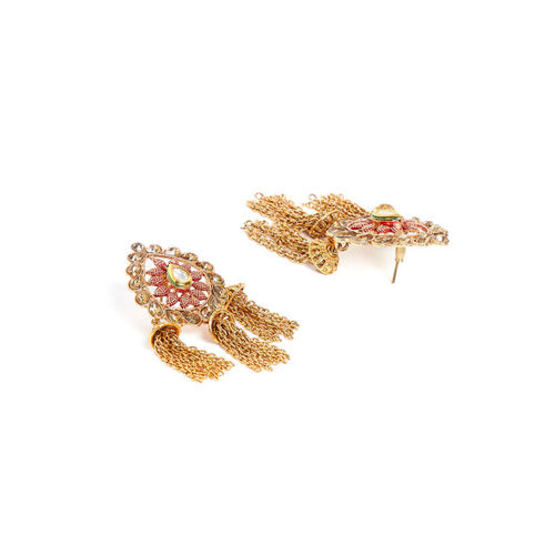 PANASH Gold-Toned & Red Leaf Shaped Drop Earrings