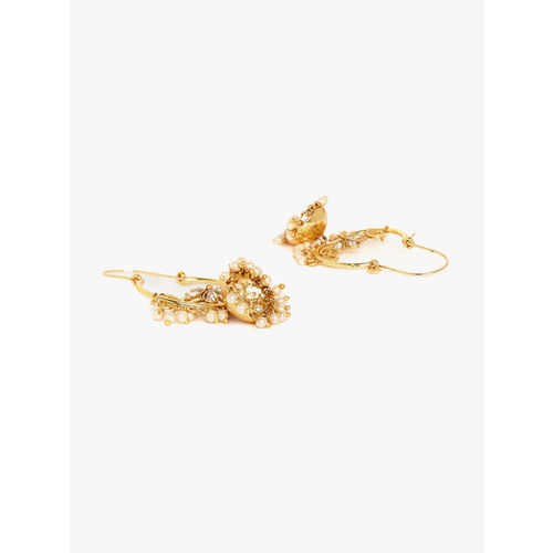 PANASH Gold-Plated & Off-White Classic Handcrafted Pearl Drop Earrings