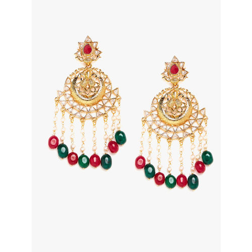 PANASH Gold-Plated & Green Chandelier Pearls Studded Circular Drop Earrings
