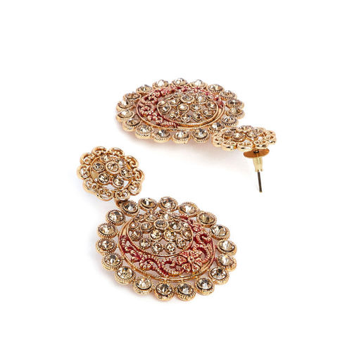 PANASH Gold-Toned & Red Classic Drop Earrings