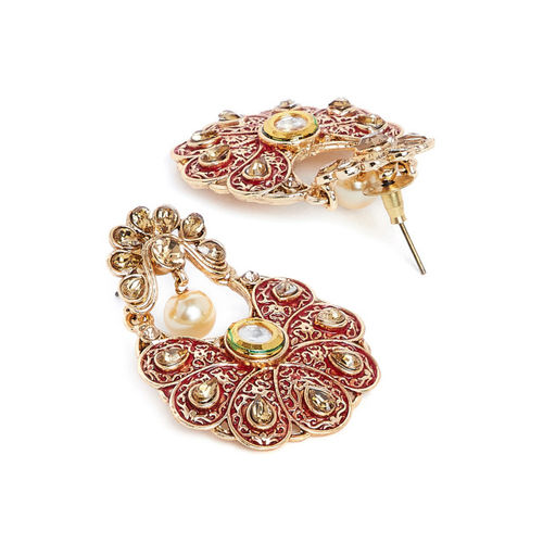 PANASH Gold-Plated & Red Classic Drop Earrings