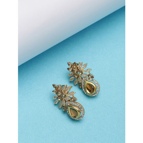 PANASH Gold-Plated & White Handcrafted Contemporary Studs