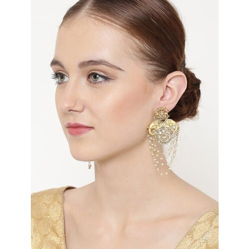 PANASH Gold-Plated White Handcrafted Contemporary Drop Earrings