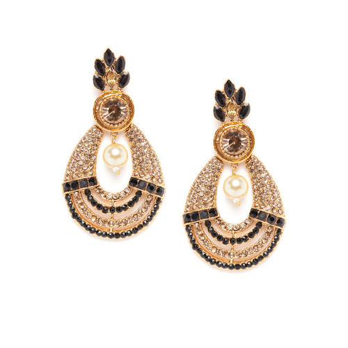 PANASH Black & Gold-Plated Crescent Shaped Drop Earrings