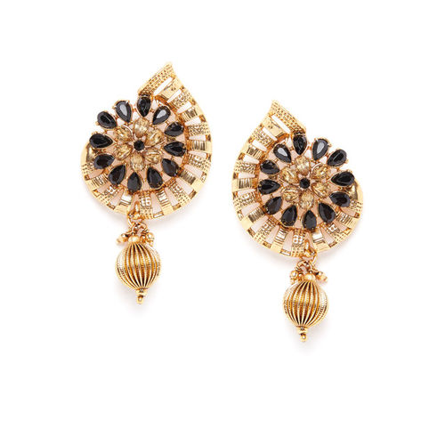 PANASH Gold-Toned Crescent Shaped Drop Earrings