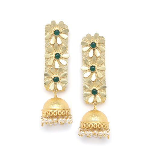 PANASH Gold-Plated & Green Classic Handcrafted Jhumkas