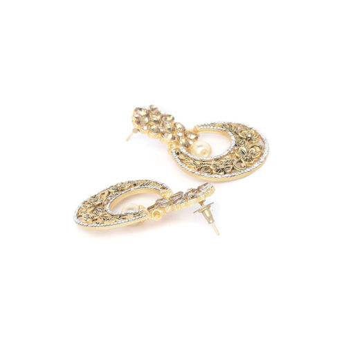 PANASH Gold-Plated & White Crescent Shaped Handcrafted Chandbalis