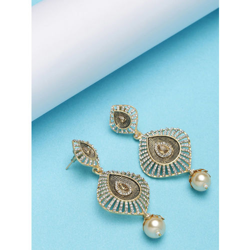 PANASH Gold-Toned & White Crescent Shaped Drop Earrings
