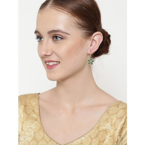 PANASH Green Gold-Plated Handcrafted Floral Drop Earrings