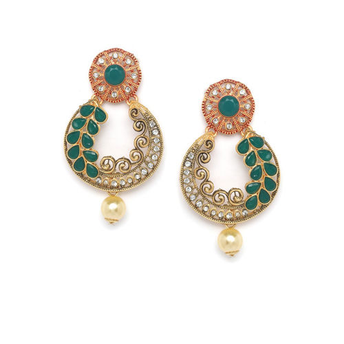 PANASH Gold-Plated & Green Handcrafted Crescent Shaped Chandbalis