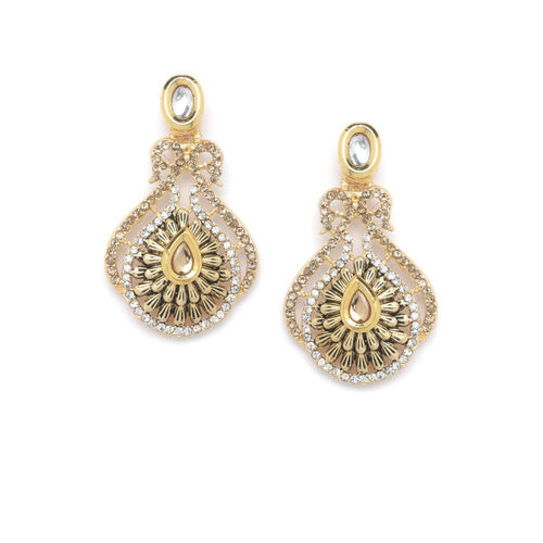 PANASH Gold-Plated Gold-Toned & Peach Handcrafted Kundan Studs