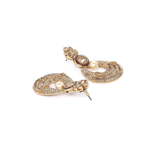 PANASH Gold-Plated & Peach-Coloured Classic Drop Earrings