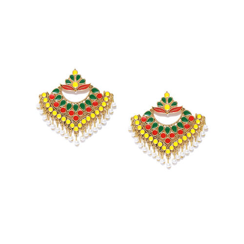 PANASH Yellow & Green Gold-Plated Handcrafted Classic Drop Earrings